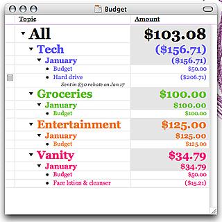 OmniOutliner Budget